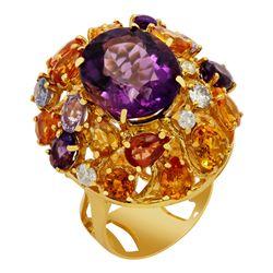 14k Yellow Gold 8.60ct Amethyst 7.71ct Multi-Stone 0.51ct Diamond Ring
