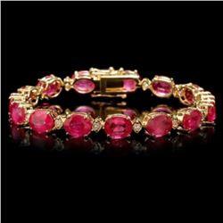14k Gold 35.17ct Ruby 1.12ct Diamond Bracelet