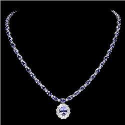 14K White Gold 26.37ct Tanzanite and 2.77ct Diamond Necklace