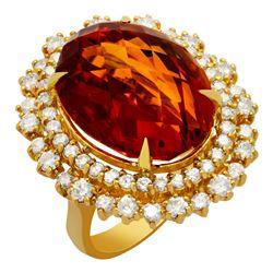 14k Yellow Gold 17.71ct Citrine 2.19ct Diamond Ring