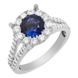 14k White Gold 1.19ct Lab Created Sapphire 1.25ct Diamond Ring
