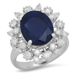 14K White Gold 5.97ct Sapphire and 1.02ct Diamond Ring