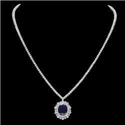 18K White Gold 5.82ct Sapphire and 4.96ct Diamond Necklace
