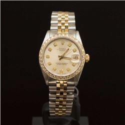 Rolex Two-Tone Datejust 31mm Diamond Dial Diamond Bezel WristWatch