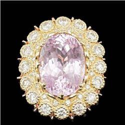 14K Yellow and Rose Gold 19.62ct Kunzite and 2.78ct Diamond Ring
