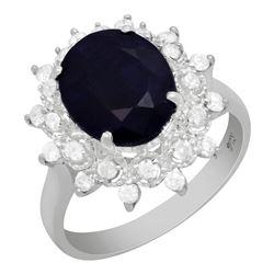 14k White Gold 4.37ct Sapphire 0.51ct Diamond Ring
