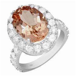 14k White Gold 5.91ct Morganite 1.79ct Diamond Ring