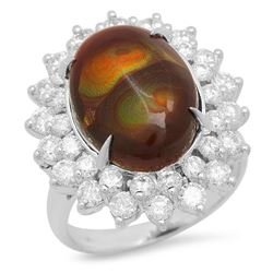 14K White Gold 3.92ct Fire Agate and 1.96ct Diamond Ring