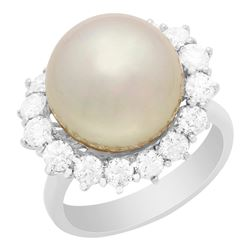 14k White Gold 13mm Pearl 1.43ct Diamond Ring