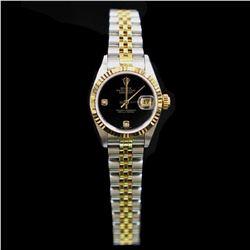 Rolex Two-Tone DateJust 26mm Factory (2) Diamonds Black Onix Dial Womens Wristwatch