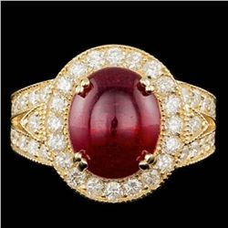14K Yellow Gold 8.11ct Ruby and 1.59ct Diamond Ring
