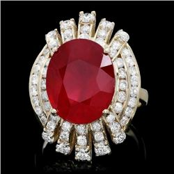 14K Yellow Gold 9.89ct Ruby and 1.93ct Diamond Ring