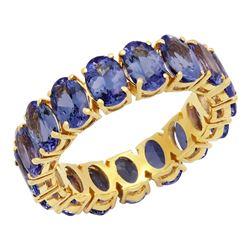 14k Yellow Gold 7.38ct Tanzanite Eternity Band Ring