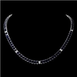 14K White Gold 54.25ct Sapphire and 0.90ct Diamond Necklace
