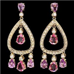 14K Yellow Gold 7.90ct Sapphire and 1.58ct Diamond Earrings