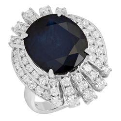 14k White Gold 8.54ct Sapphire 1.92ct Diamond Ring