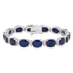 18K Gold 27.47ct Sapphire 1.43ct Diamond Bracelet