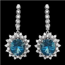 14k Gold 11.65ct Topaz 1.94ct Diamond Earrings