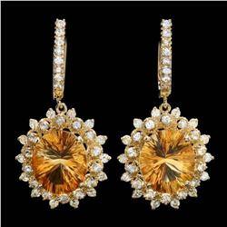 14k Gold 10.25ct Citrine 1.14ct Diamond Earrings