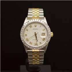 Rolex Two-Tone Datejust 36mm Custom Silver Jubeele Dial with Gold Roman Numeral and 2.25ct Diamond B