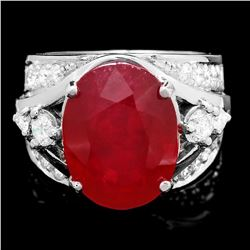 14K White Gold 12.27ct Ruby and 1.32ct Diamond Ring