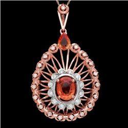 14K Gold 5.40ct Sapphire and 1.03ct Diamond Pendant