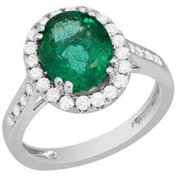14k White Gold 2.08ct Emerald 0.76ct Diamond Ring