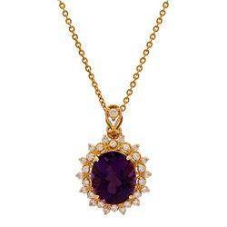 14K Gold 7.35ct Amathyst 0.76ct Diamond Pendant