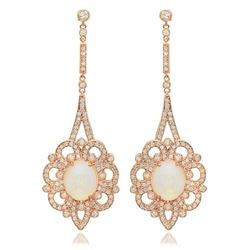 14K Rose Gold 5.88ct Opal and 2.53ct Diamond Earrings