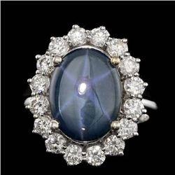 14K White Gold 5.19ct Star Sapphire and 1.46ct Diamond Ring
