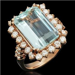 14K Rose Gold 7.38ct Aquamarine and 1.57ct Diamond Ring