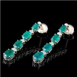 14K Yellow Gold 5.87ct Emerald and 0.36ct Diamond Earrings