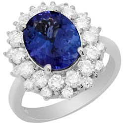 14k White Gold 3.29ct Tanzanite 1.61ct Diamond Ring