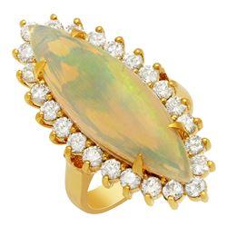 14k Yellow Gold 7.69ct Opal 1.92ct Diamond Ring
