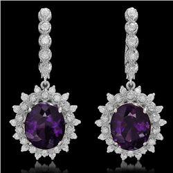 14K Gold 9.46ct Amethyst 1.41ct Diamond Earrings