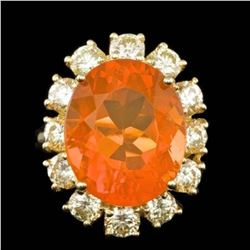 14K Yellow Gold 7.91ct Fire Opal and 2.41ct Diamond Ring