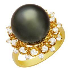 14k Yellow Gold 13mm Pearl 0.41ct Sapphire 0.40ct Diamond Ring
