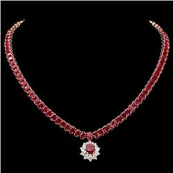14K Yellow Gold 58.90ct Ruby and 1.25ct Diamond Necklace