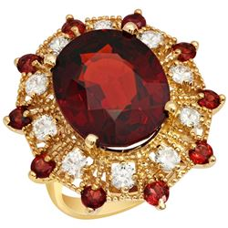 14k Yellow Gold 16.40ct & 1.00ct Garnet 1.19ct Diamond Ring