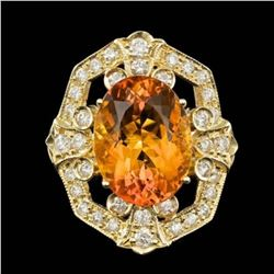 14K Yellow Gold 9.25ct Citrine and 2.59ct Diamond Ring