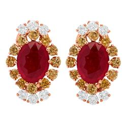 14k Rose Gold 5.52ct Ruby 0.75ct & 1.55ct Diamond Earrings