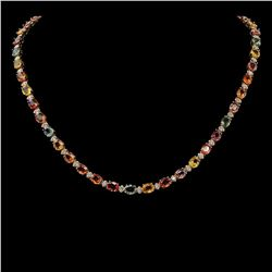 14K Gold 35.09ct Multi Color Sapphire 1.48ct Diamond Necklace