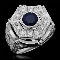 14K White Gold 1.91ct Sapphire and 1.27ct Diamond Ring