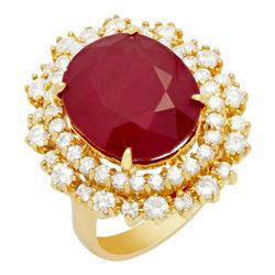 14k Yellow Gold 12.57ct Ruby 1.62ct Diamond Ring