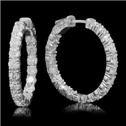 14K White Gold and 6.10ct Diamond Hoop Earrings