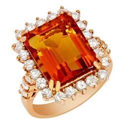14k Rose Gold 7.89ct Citrine 1.40ct Diamond Ring