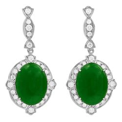 14k White Gold 12.56ct Jade 1.68ct Diamond Earrings