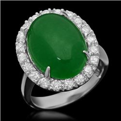 14K White Gold 8.66ct Jadeite and 1.00ct Diamond Ring
