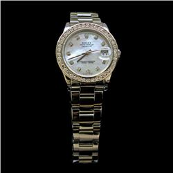 Rolex DateJust 31mm Oyster Band Custom Diamond Dial & Bezel Approx 1.85ct Womens Wristwatch
