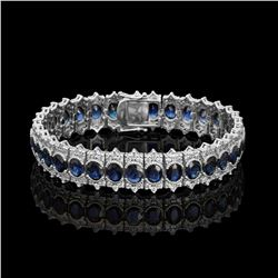 14k White Gold 22.34ct Sapphire 5.11ct Diamond Bracelet